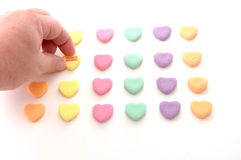 Valentine. A game of concentration played with Valentine's Candy Sweethearts stock image