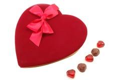 Valentine. Velvet topped box of Valentines Chocolates stock images