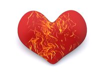 Valentine. Red burning heart. 3d valentine Royalty Free Stock Photo