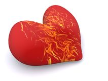 Valentine. Burning heart. 3d valentine on white Royalty Free Stock Images