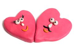 Valentine. Couple of valentine made of plasticine isolated on white stock photography