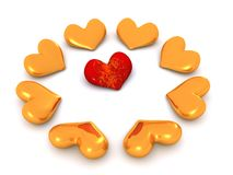 Valentine. Many hearts around. 3d valentine Stock Photography