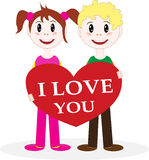 Valentine. A Boy And A Girl Give A Valentine Royalty Free Stock Photos