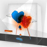 Valentine abstract. Background/ geometric design heart shape lolly-pops in love vector illustration