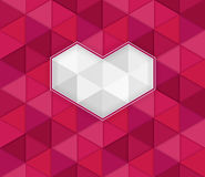 Valentine on the abstract background with 3D effect of red triangles Royalty Free Stock Images