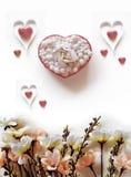Valentine Abstract met Hartsamenvatting Stock Afbeeldingen