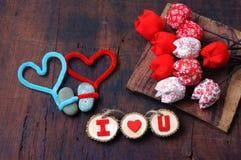 Valentine-achtergrond, 14 Februari, houd ik van u Stock Foto