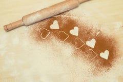 Valentine-achtergrond, groetkaart Kader van harten Witte maaltijd hij Stock Foto