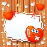 Valentine-achtergrond met gebroken hart en etiket Royalty-vrije Stock Foto