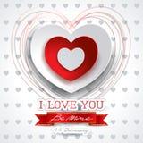 Valentine-achtergrond met hart en bericht Royalty-vrije Stock Fotografie