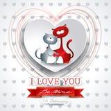 Valentine-achtergrond met leuke katten in liefde Stock Foto