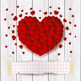 Valentine-achtergrond met rode hart en exemplaarruimte Royalty-vrije Stock Fotografie