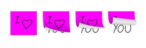 Valentine adhesive papers. Pink adhesive papers with some valentine draw Royalty Free Stock Photos