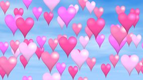 Valentine animated background seamless loop video - pink and purple hearts. Hover on blue sky stock footage