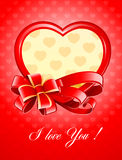 Valentine as heart with bow Stock Images