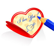 Valentine as heart and pensil Stock Photos