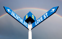 Valentine ave and love st. Reet Stock Photo