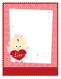 Valentine Baby Angel 8.5x11 Template. Flyer with baby angel holding a valentine heart Royalty Free Stock Photography