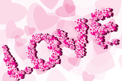 Valentine Background. Draw love with heart leafs -  Valentine Background Stock Photo