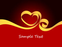 Valentine background. With heart from gold ribbon Royalty Free Stock Photo