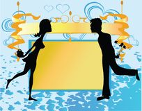 Valentine background. Background with silhouettes of couple in love Stock Photography