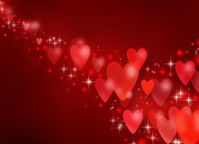 Valentine background. Beautiful illustration of Valentine hearts on red royalty free illustration