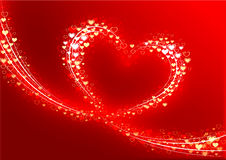Valentine Background. An illustrated red Valentine's background with a design of a huge heart made of glowing hearts royalty free illustration