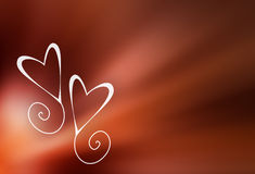 Valentine background. Two valentine hearts on red blurry background Stock Photography