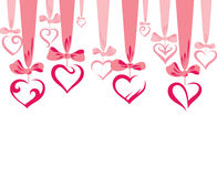 Valentine background. With hearts on the bows Stock Images