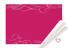 Valentine background. Red-white background for valentine day, curled paper list stock illustration