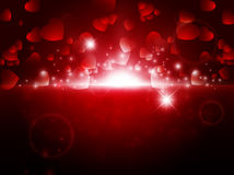 Valentine background. Bright night Abstract Valentine background with stars and lights stock illustration