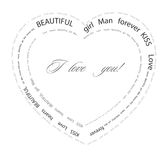 Valentine background. Vector illustration. Heart consisting of words on a love theme Royalty Free Stock Photos