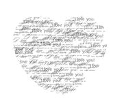 Valentine background. Vector illustration. Heart consisting of words on a love theme Stock Photography