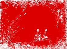 Valentine background. Red valentine background with flowers Vector Illustration