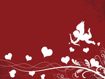 Valentine Background. With Cupid, swirls and floral motifs Stock Image