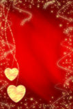 Valentine background. With two golden heart stock illustration