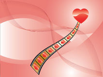Valentine Background. The vector image of red heart, tape and waves on pink background Stock Photography