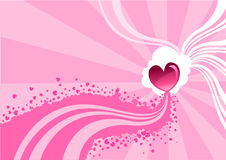 Valentine background. Vector illustration of Flirty background  of stylized hearts and waves Stock Photos