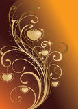 Valentine background. Golden valentine background with heart-shapes Royalty Free Stock Images