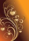 Valentine background. Golden valentine background with heart-shapes vector illustration