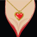 Valentine background. Saint Valentine's Day. Decollete with   jewel heart Royalty Free Stock Photography