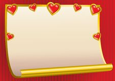 Valentine background. With hearts and gold paper stock illustration