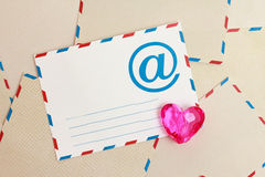 Valentine background from airmail e-mail paper. Background with airmail envelopes and e-mail Royalty Free Stock Photography