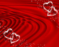 Valentine Background Border. 3D Illustrated red waves design for Valentine background or border with copy space Stock Photo