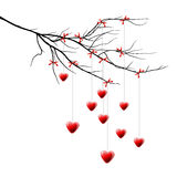 Valentine background, branch with hearts Royalty Free Stock Photo