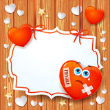 Valentine background with broken heart and label Royalty Free Stock Photo