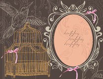 Valentine background with cage Stock Image