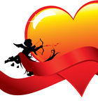 Valentine background with cupid and heart Royalty Free Stock Photography