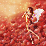 Valentine background with fairy Stock Photo