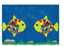Valentine background with fish in love Stock Image